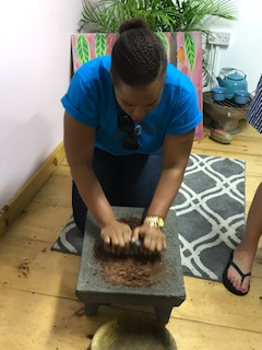 Grinding Cocoa. The aroma was so divine!